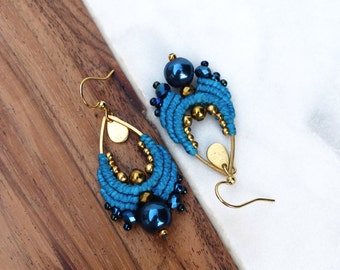 Macrame earrings turquoise midnight blue and gold - Drop shape - Bohemian / Boho chic style designer jewelry - Gift for her