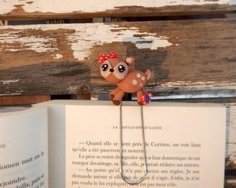 Fawn, deer, deer fimo, bookmark - animal, bookmark, bookmark gift, deer, fawn gift, decoration, book gift, clip, fimo Fawn