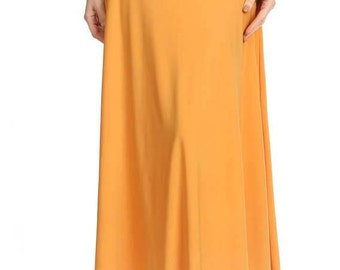 Mustard Long Maxi Skirt Women's
