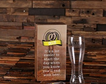 Personalized Wood Box, Bottle Opener and Pilsner, Pint Beer Glass Groomsmen, Father's Day,  Man Cave, 21st Birthday Gift, Men's for Him
