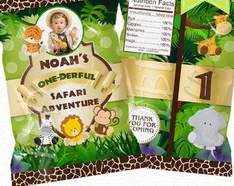 """Safari Birthday Treat Bag Printable, Candy Bag, Chip Bag, Party Bags   Ant Age    4.5"""" x 7""""- YOU PRINT"""