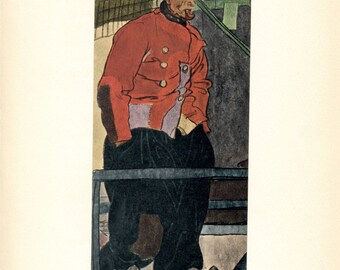 Sea Captain. Jan Hoorn. Dutch Man. Tipped Book Plate. Edward Penfield. Holland. 1907