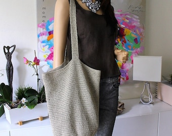 Crochet  Shoulder BAG Cotton Linen, Shopper