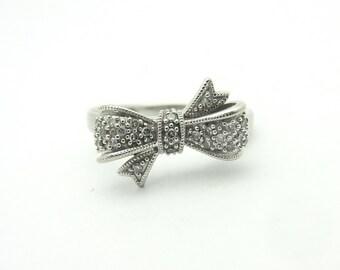 Sweet .05Cttw Diamond Bow Ring 10k White Gold Sz 7 Valentine's Day Gift