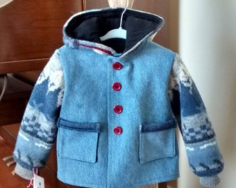 Hooded Denim Jacket with upcycled wool sweater sleeves and hood