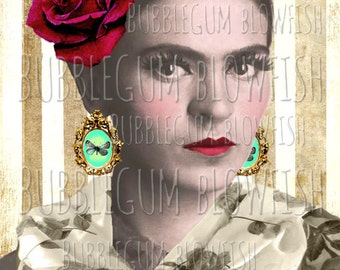 Frida Kahlo with butterfly earrings vintage striped background Digital art Download