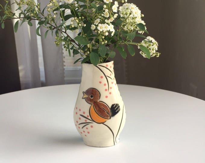 Featured listing image: Reversible Bud Vase with robin