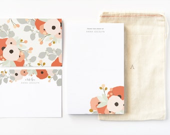 Personalized Stationery Set Illustrated Floral Stationery