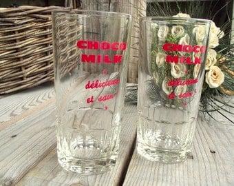 Vintage Tumblers - Set of 2 - French Bistro Glasses - Choco Milk - Chocolate Glasses - Retro Bistro Decor