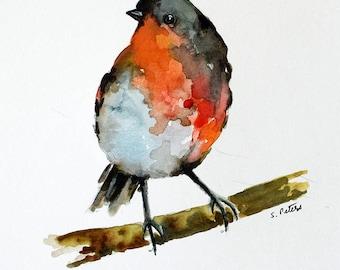 ORIGINAL Watercolor Painting Colorful Robin, Bright Orange  Bird 6x8 inch