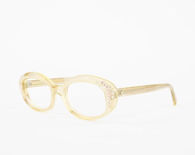 Vintage 60s Oval Glasses | 1960s Round Crystal Eyeglasses | NOS Eyeglass Frame | Deadstock Eyewear - Sunset Beige