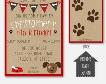 puppy party puppy birthday invitation puppy party invitation dog birthday theme puppy - Dog Birthday Party Invitations