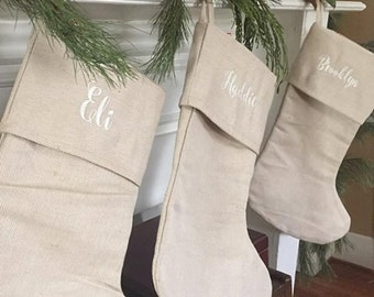 Personalized Christmas Stockings, Burlap Christmas Stocking, Christmas Tree Stocking, Christmas Decorations- LAST DAY to ORDER
