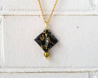 Black and gold necklace, asian flower pattern, origami jewelry | Gold Chain | Okibo