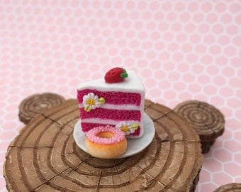 Miniature Strawberry Shortcake Slice with Donut, Dollhouse Miniature Cake Slice, Polymer Dessert, Dollhouse miniature food, Fairy Garden