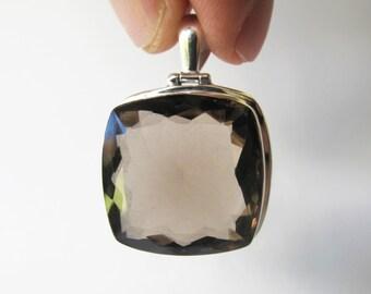 Natural Smokey Quartz Pendant Bezel set in Sterling Silver, Faceted Gemstone Jewelry, Bohemian Necklace Slider, Semi Precious SKQ3
