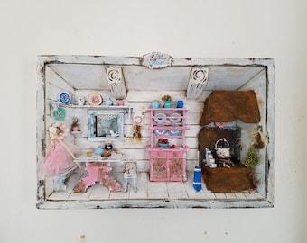 3D Shadow Box Diorama Farm Kitchen Wall Decor Kitchen Decor Distressed Hand Painted Home Decor