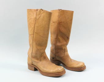 70s Tan Leather Boots, Size 7.5, Stacked Heel, Yellow Brown, Campus Boot, Hippie, Boho, Festival, DISTRESSED, Sears Brand, Western, Cowboy