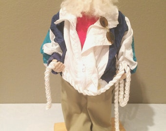 """Vintage  21"""" Tall Santa Clause On Stand Nautical Sailor Super Cool Resin Face Unique Christmas"""