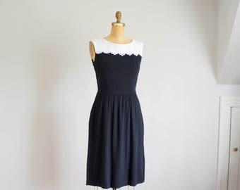 80s Lanz black and white cotton dress