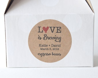"20 Kraft 2"" Round Sticker Label Tags - Custom Wedding Favor & Gift Tags - Love is Brewing Kraft"