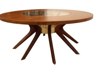 Mid-Century Coffee Table  Danish Modern Round Walnut/Glass Sputnik Coffee Table