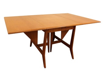 Mid-Century Dining Table Danish Modern Heywood Wakefield Champagne Drop-Leaf Dining Table