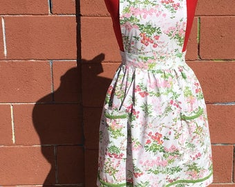 Full Apron - Pink and Green Spring Flowers