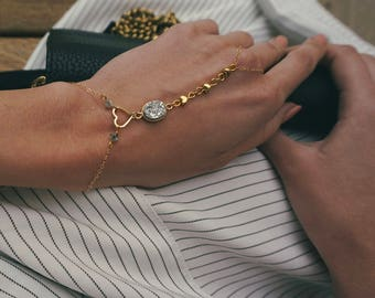 14k Gold Filled Chain Slave Bracelet, Silver Druzy Detail