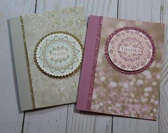 Thanks Greeting Card / Handmade / Blank Inside Greeting Card / Stamped Greeting Card / Just Because Greeting Cards / Medallion Card