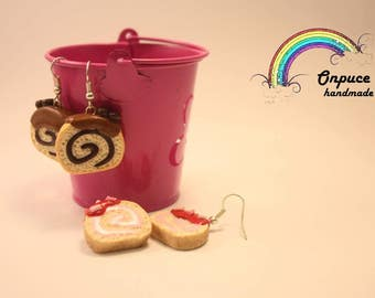 cake roll handmade earrings coffee strawberry cakeroll