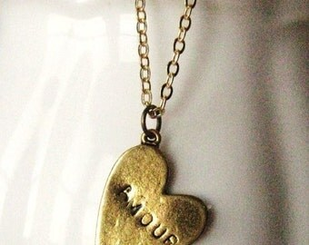Amour Necklace, golden brass, heart necklace, french, amour, love, handmade, gift for mom, gift for wife, gift for daughter, gift for her