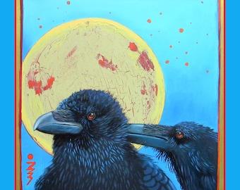 SHARING SECRETS -  raven, crow, native american, indian, corvid, love