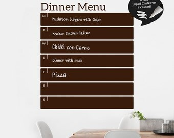 Write and Erase Weekly Menu - Weekly Dinner Planner - Kitchen Meal Planner Vinyl Wall Sticker - Chalk Pen Included