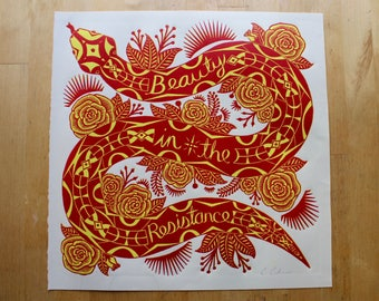 Snake Print / Linocut / Two Color / Reduction Print / Limited Edition / Art Print /