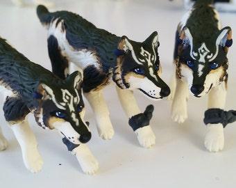 Little Running Wolflink - OOAK Paper Clay Divine Wolf Animal Sculpture