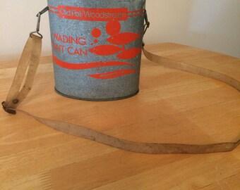 Vintage Old Pal Woodstream Galvanized Fishing Bait Bucket