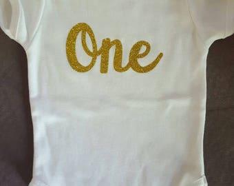 Gold Glitter One Birthday Onesie
