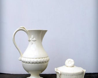 English Royal Creamware / Leedsware Creamer Jug and Lidded Pot