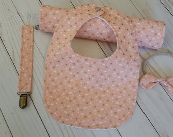 Baby girl bib and burp cloth set, girl baby shower gift, nylon headband, pacifier strap