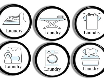 Laundry Room Cabinet Knobs - Wash Day, Utility Closet, Unique Cupboard Drawer Pulls, Ironing Board, Clothes, Farmhouse Home Decor - 816Q38