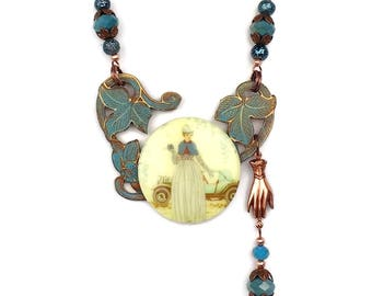 Art Deco Style Woman Teal Blue Cameo Statement Necklace on Copper Chain Gingerbread Patina Asymetrical
