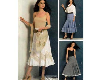 "Women's Lined Skirts Sewing Pattern, Above Ankle or Midi Length, Misses Size 6-8-10-12, Waist 23-24-25-26 1/2"" Uncut OOP McCall's M5332"