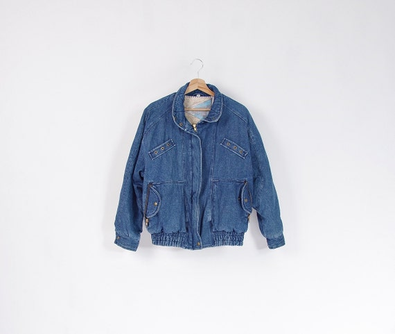 SALE  - 80s Jet Point Denim Insulated Jacket / Size 36 - S/M