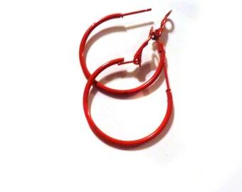 Red Hoop Earrings Classic Hoop Red Hoop Earrings Thin Hoops 1.5 inch Hoops