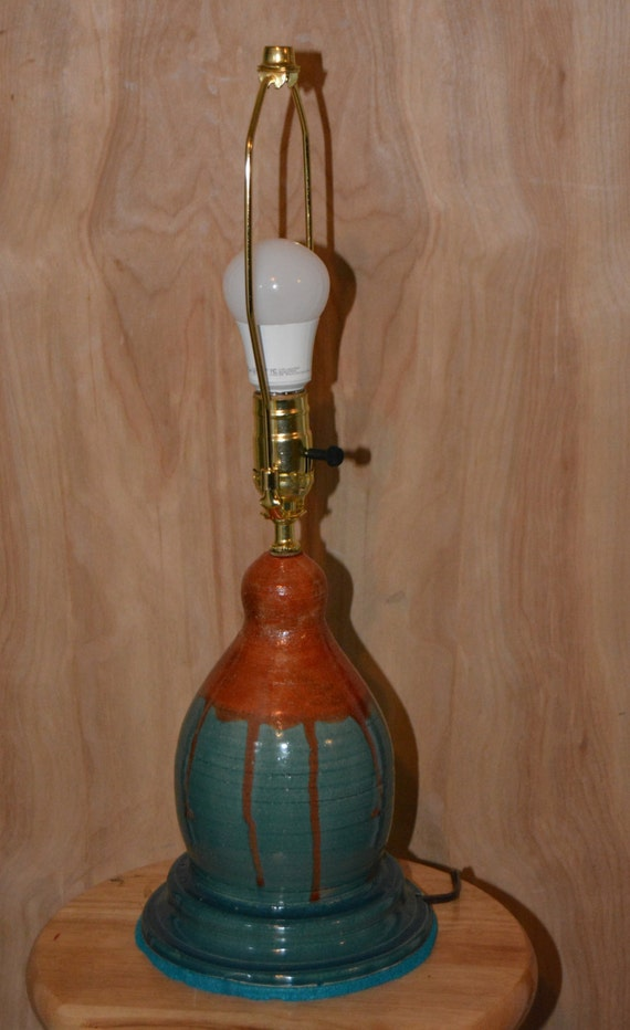 Lamp, Stoneware, Peacock Blue, Burnt Orange, Ceramic, Home Decor, Lighting,