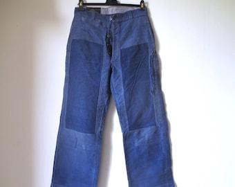 1930s French Faded blue moleskin work farmer chore pants by Le Mont Saint Michel Ariès •