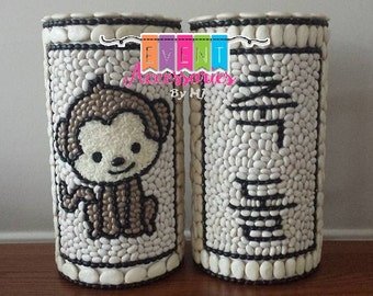 Year of the MONKEY DOL TOWER Set of 2 (Set of 2 Towers) Zodiac Tower & Name (or) Chook Dol Tower (Dohl Tower) (Go-Im) - Korean 1st Birthday