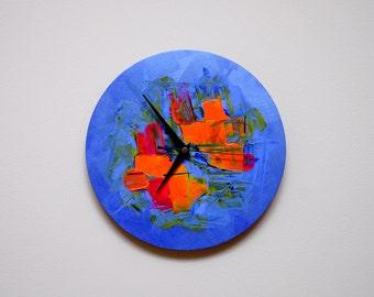Hand Painted Wall Clock, Wall Clocks, Wall Decor, Blue Wall Clock, Unique Wall Clock, Large Wall Clock, Kitchen Wall Clock, Art Wall Clock