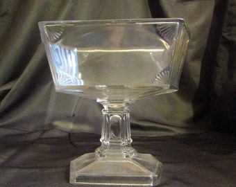 EAPG Paneled Ribbed Shell Large Compote Central Glass Co Antique 1883 Panel, Rib And Shell